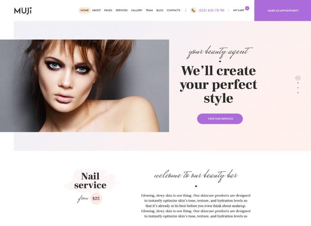 Muji    Thème WordPress pour salon de beauté et spa