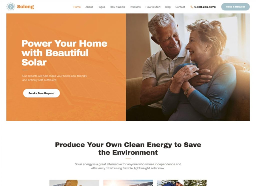Soleng    Un thème WordPress pour une entreprise d'énergie solaire