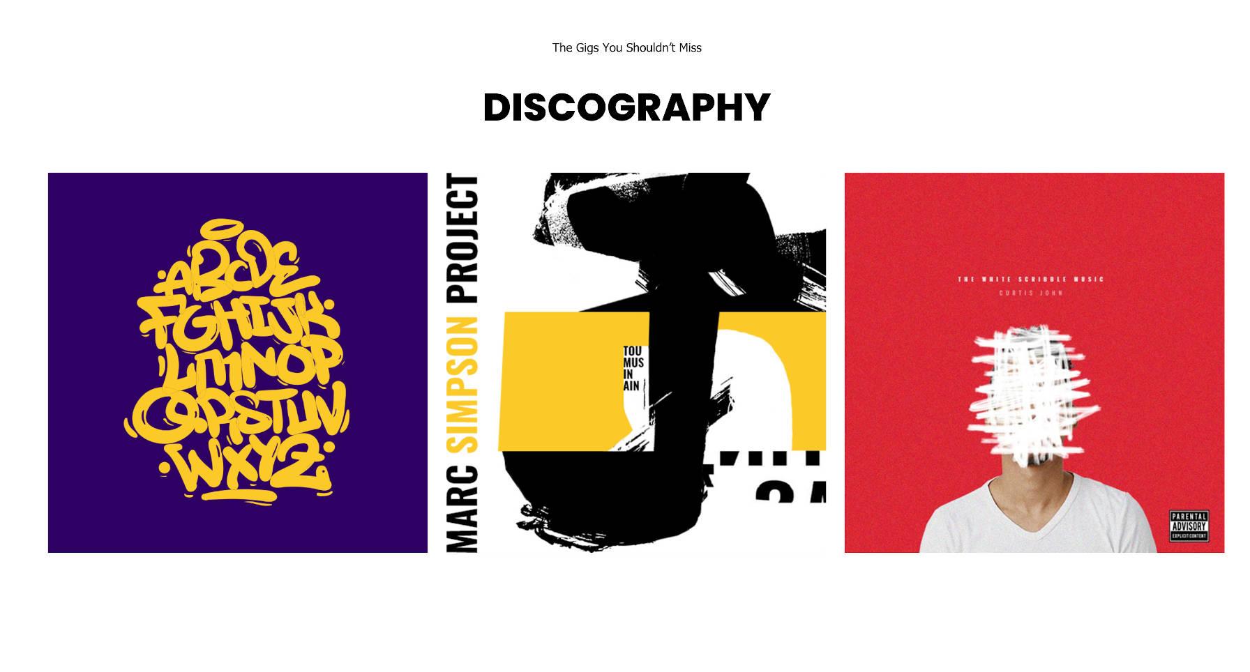 Section discographie qui répertorie les albums d'un artiste.