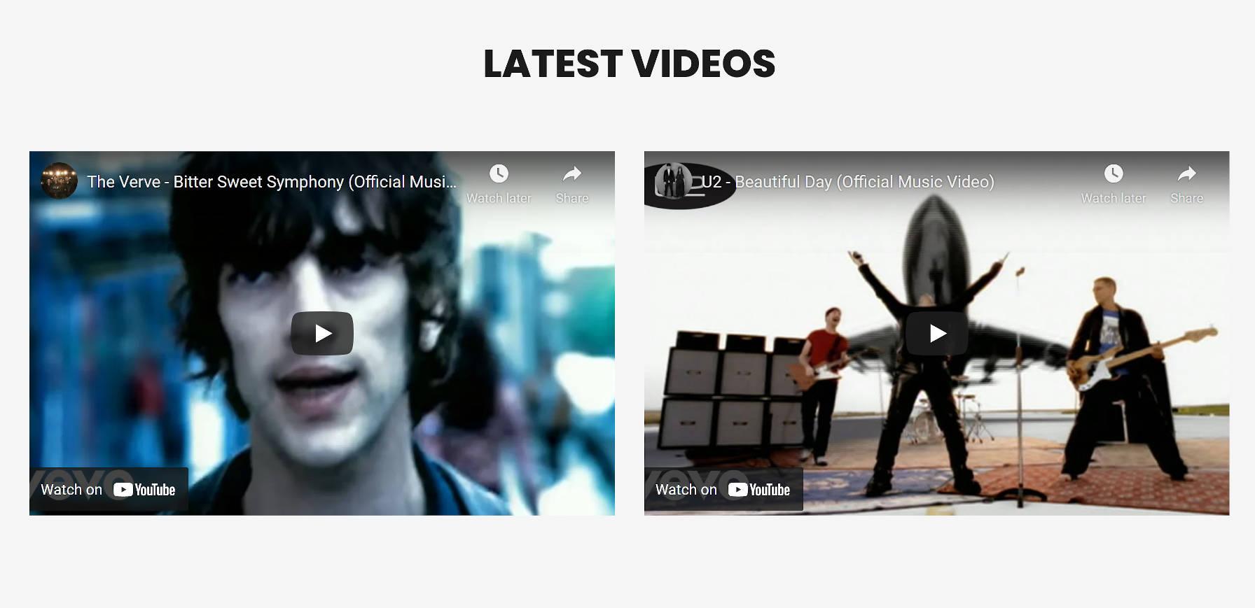 Une section avec deux colonnes, chacune avec une vidéo YouTube intégrée.