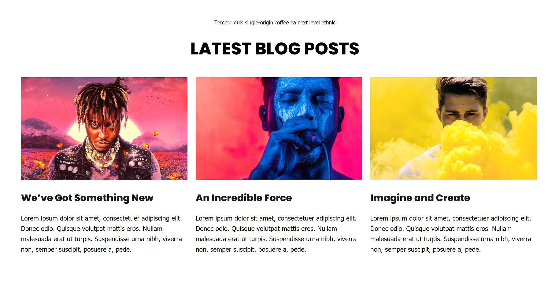 Section des derniers articles à trois colonnes avec des images en vedette.
