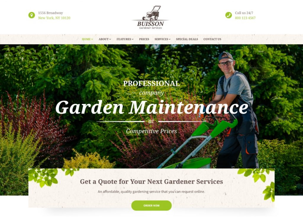 Buisson    Thème WordPress pour les services de jardinage et d'aménagement paysager