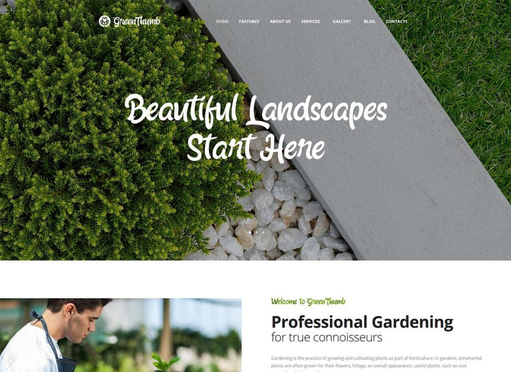 Pouce vert    Thème WordPress pour les services de jardinage et d'aménagement paysager