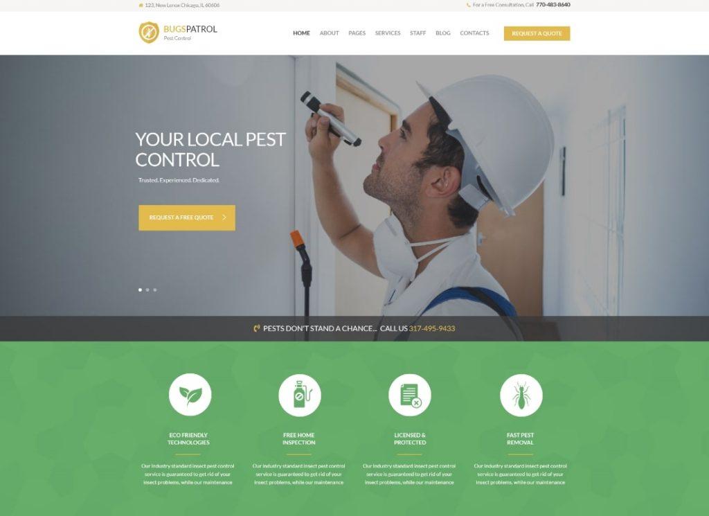 BugsPatrol    Thème WordPress des services de désinsectisation pour le contrôle des parasites et des insectes