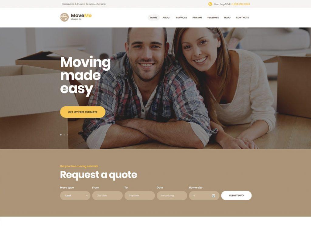 MoveMe    Thème WordPress pour entreprise de déménagement et de déménagement