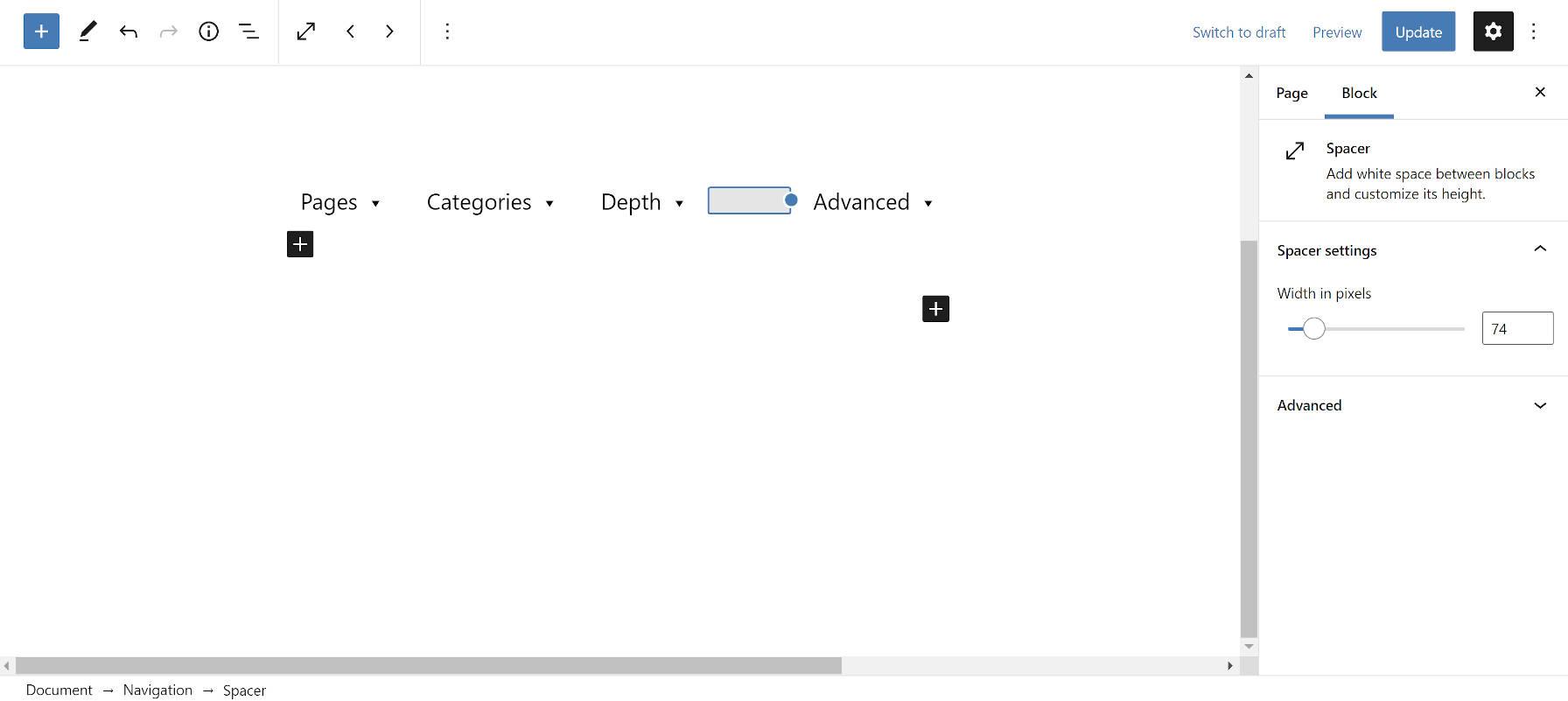 Bloc de navigation avec un bloc Spacer imbriqué dans l'éditeur de blocs WordPress.