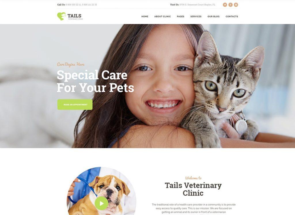 Tails |  Thème WordPress pour clinique vétérinaire, soins pour animaux et boutique