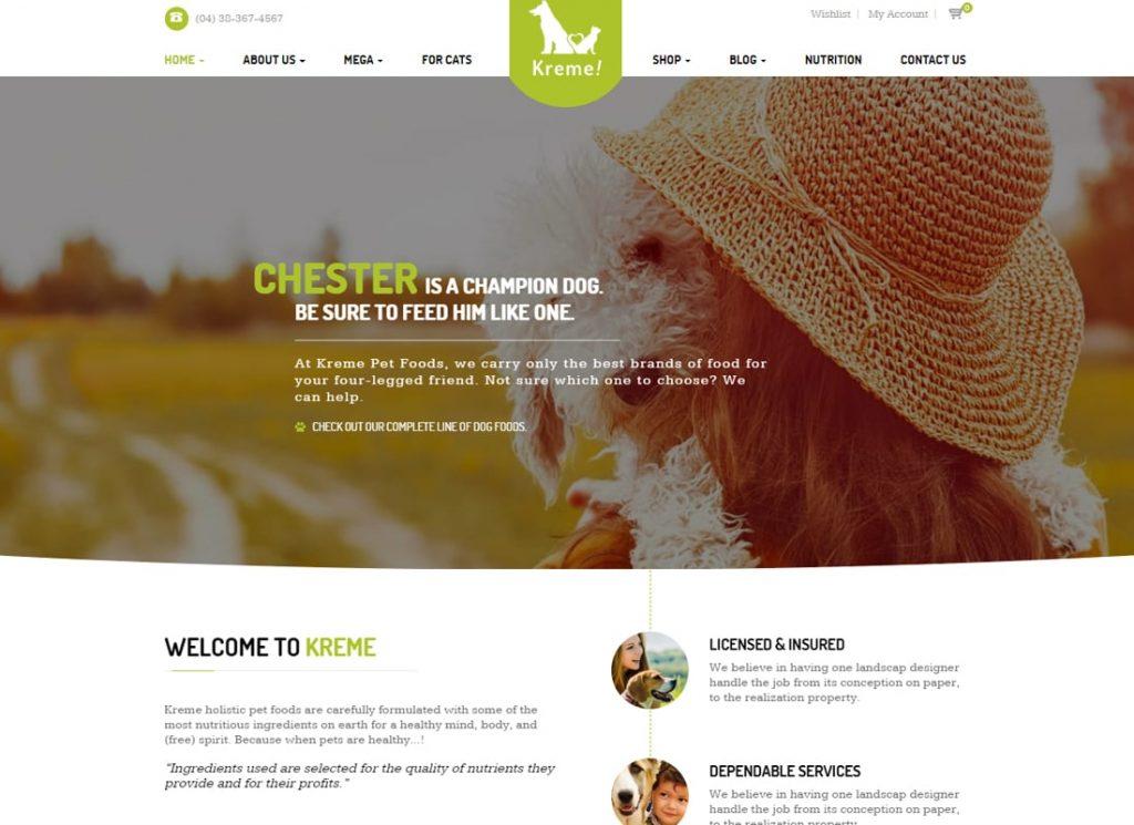 Kreme |  Thème WordPress pour animaux de compagnie et boutique
