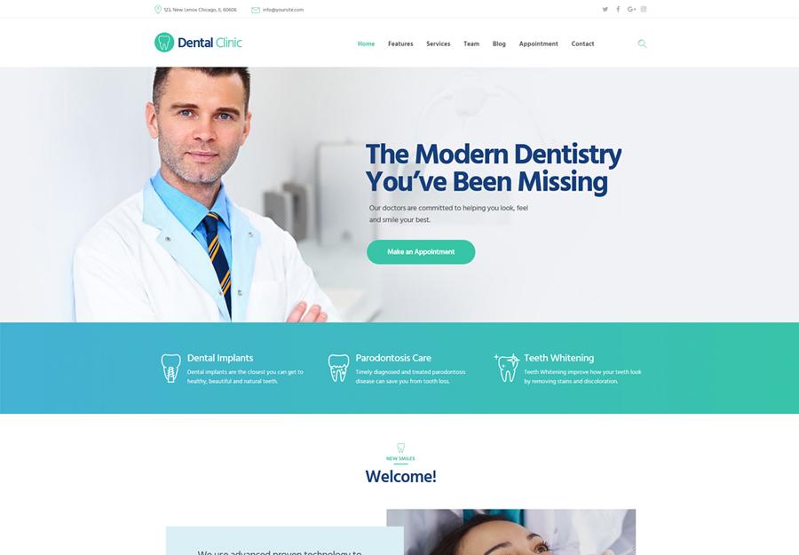 Clinique dentaire |  Thème WordPress pour clinique dentaire, médecine et santé