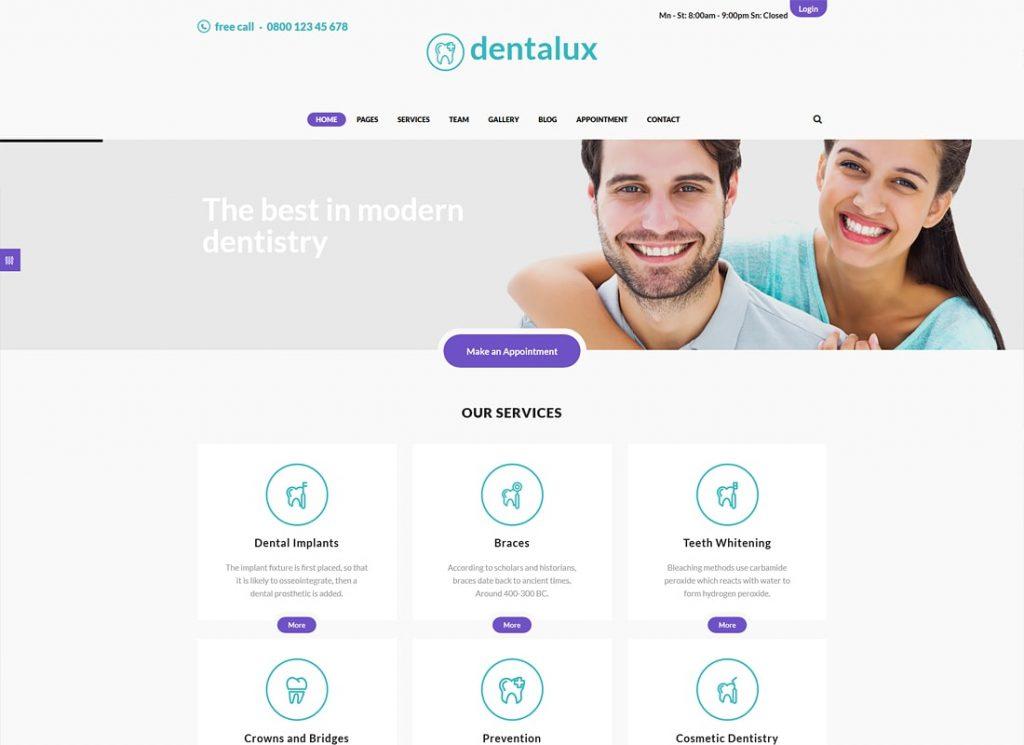 Dentalux |  Un thème WordPress pour dentiste médicale et santé
