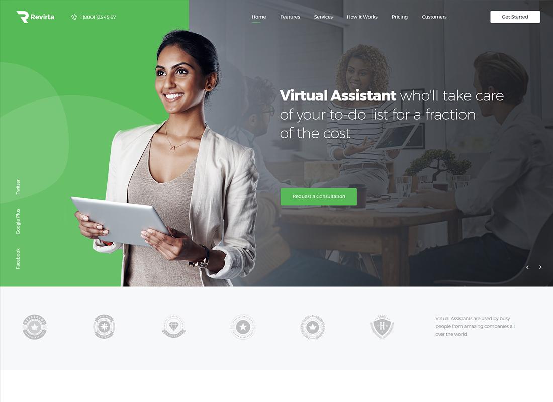 Revirta    Thème WordPress de l'assistant virtuel