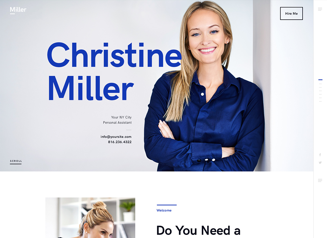 Miller    Thème WordPress pour l'assistant personnel et les services administratifs