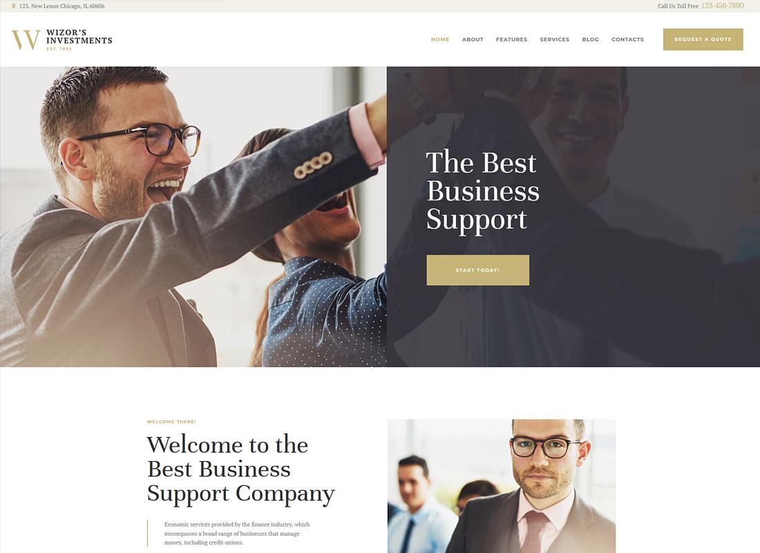 Wizor's    Thème WordPress pour les investissements et le conseil aux entreprises
