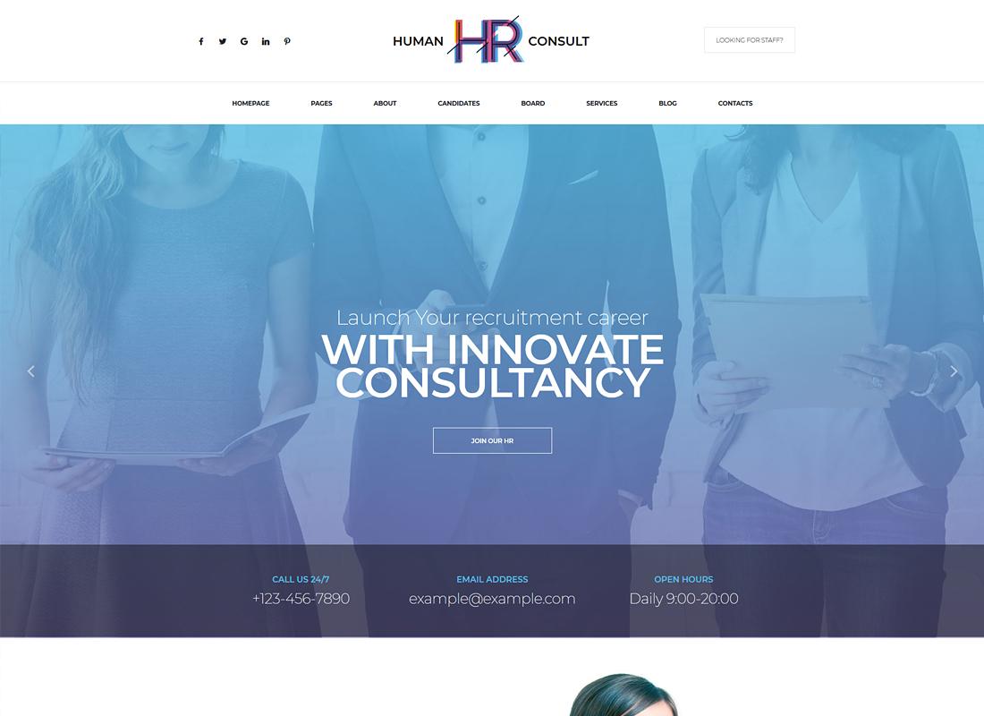 HR Human Consult    Thème WordPress pour les ressources humaines et le recrutement