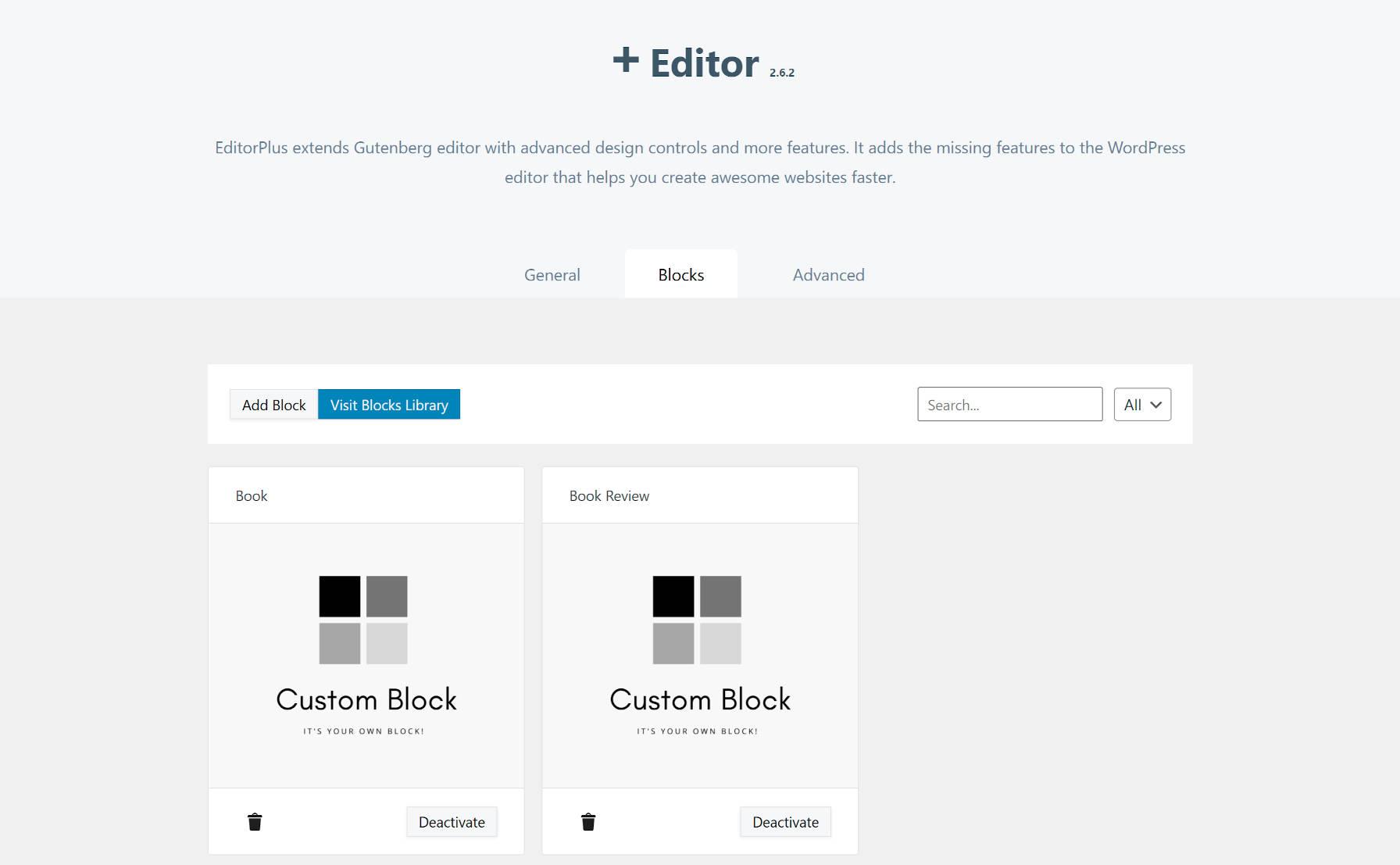 Fonctionnalité de bloc personnalisé Editor Plus dans la version 2.6.2.