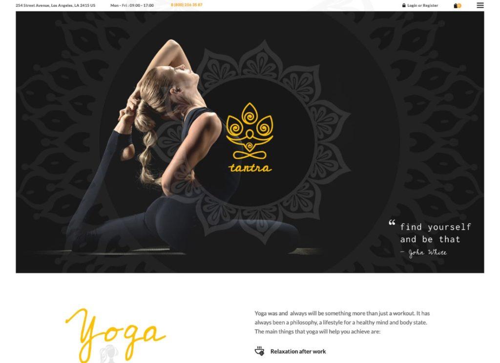 Tantra |  Un thème WordPress pour studio de yoga et club de remise en forme