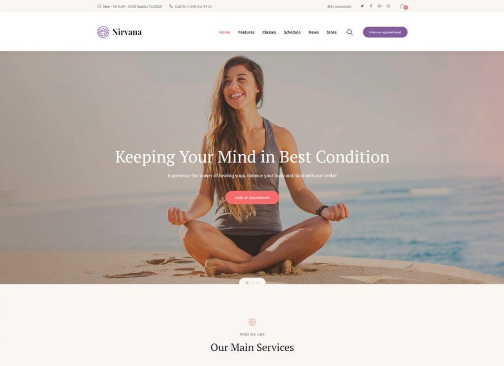 Nirvana |  Thème WordPress pour Yoga Studio et Fitness Club