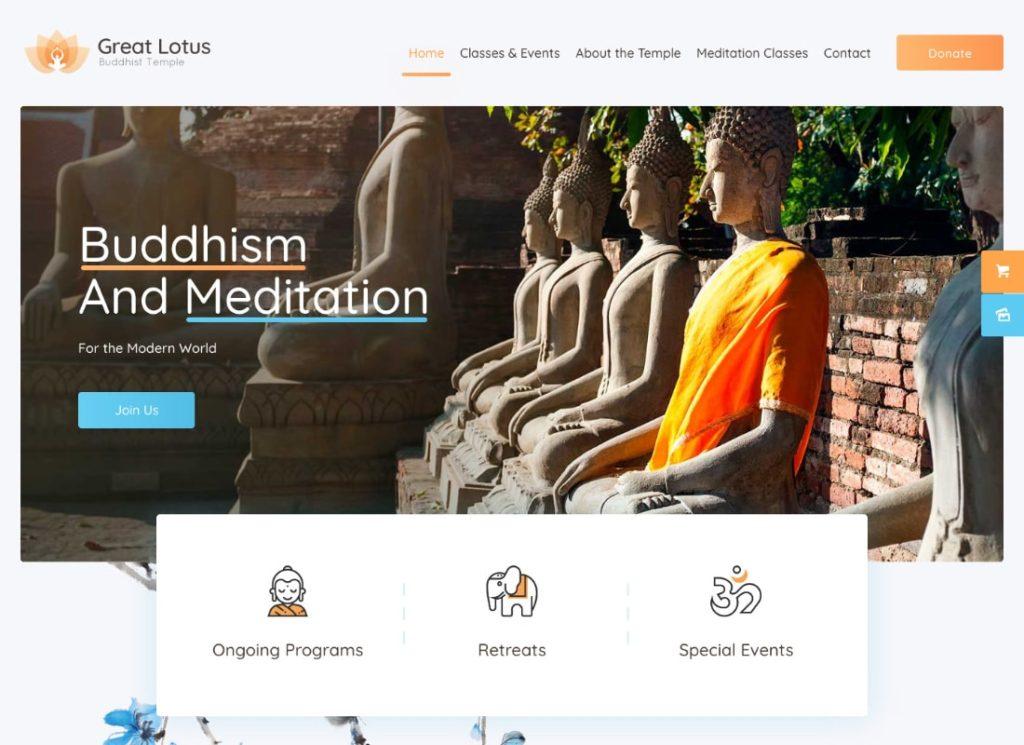 Grand Lotus |  Thème WordPress du temple bouddhiste