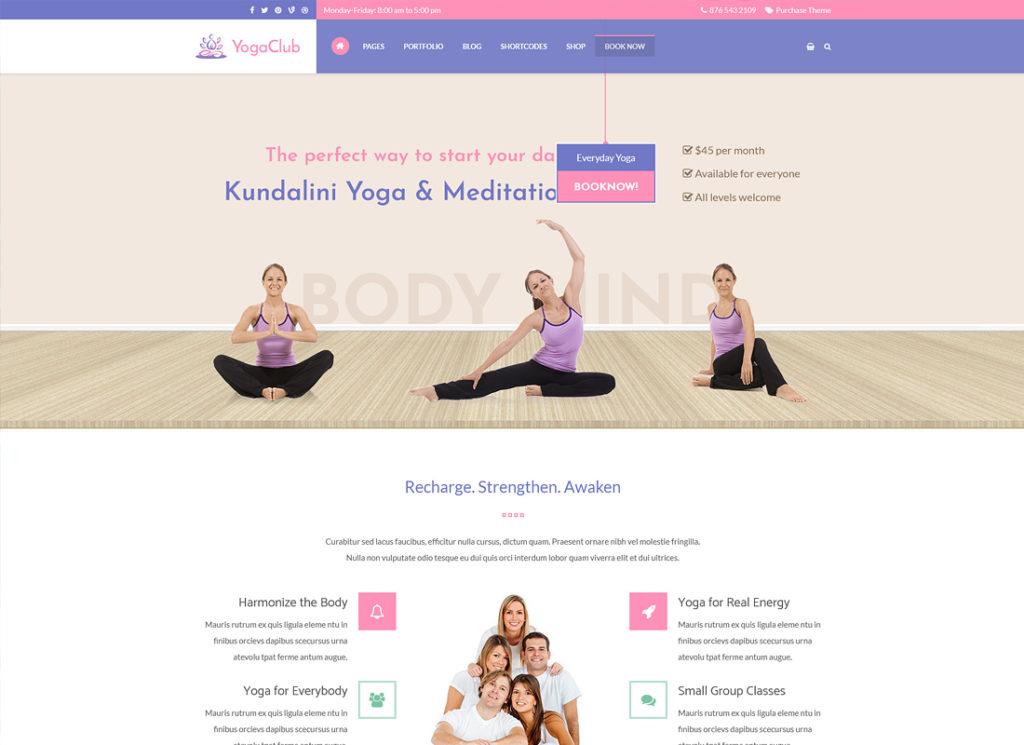 Club de Yoga |  Thème WordPress de santé et de yoga pour les centres de yoga, les studios de yoga et les formateurs de yoga