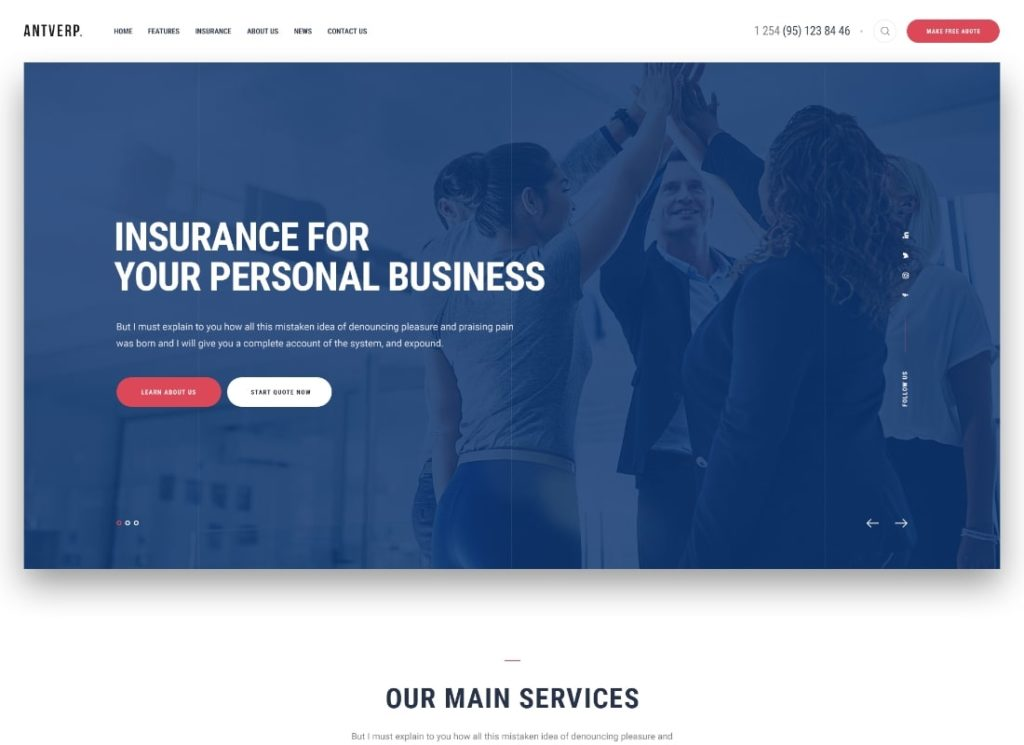 Antverp    Thème WordPress pour les assurances et les conseils financiers