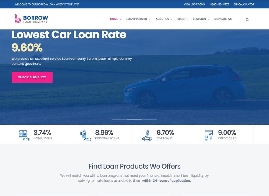 Emprunter    Thème WordPress réactif pour les sociétés de prêt