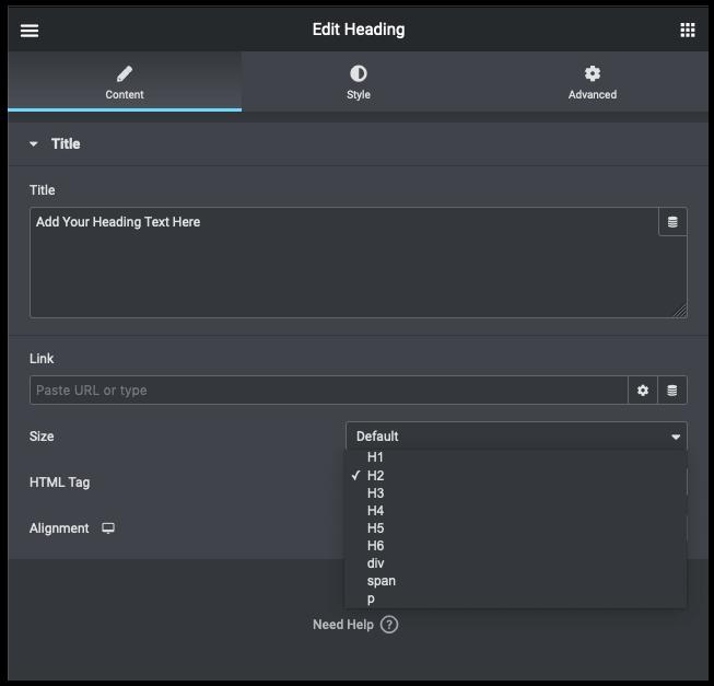 Une image montrant le menu déroulant de l'élément ou de la balise d'en-tête
