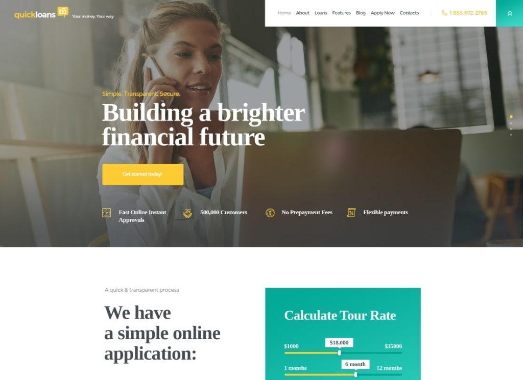 QuickLoans    Thème WordPress de la société de prêt