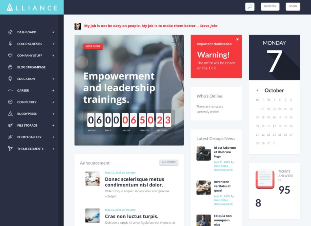 Alliance |  Thème WordPress pour intranet et extranet