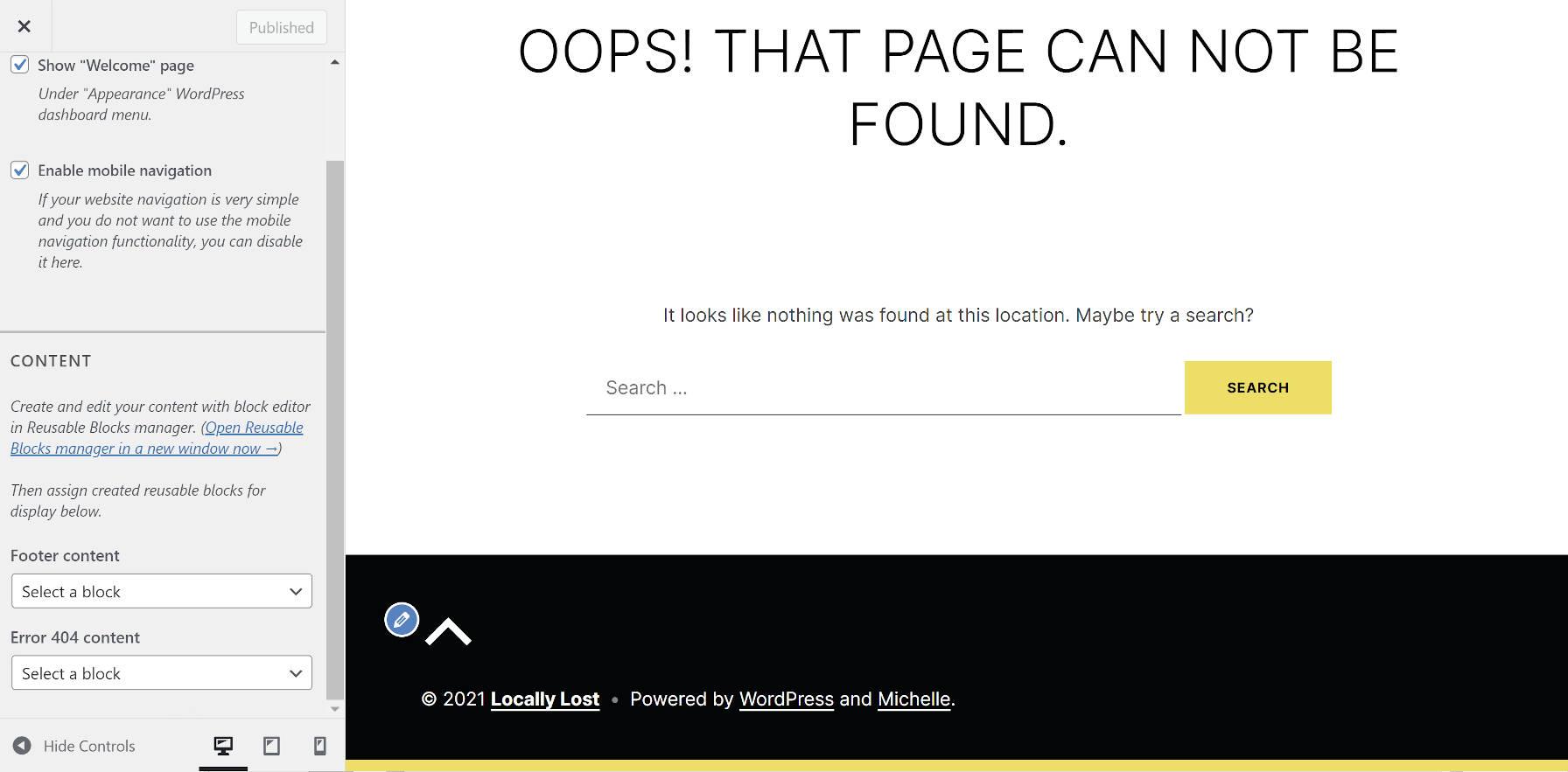 Options de personnalisation du thème Michelle WordPress pour modifier le contenu de la page 404 et du pied de page.