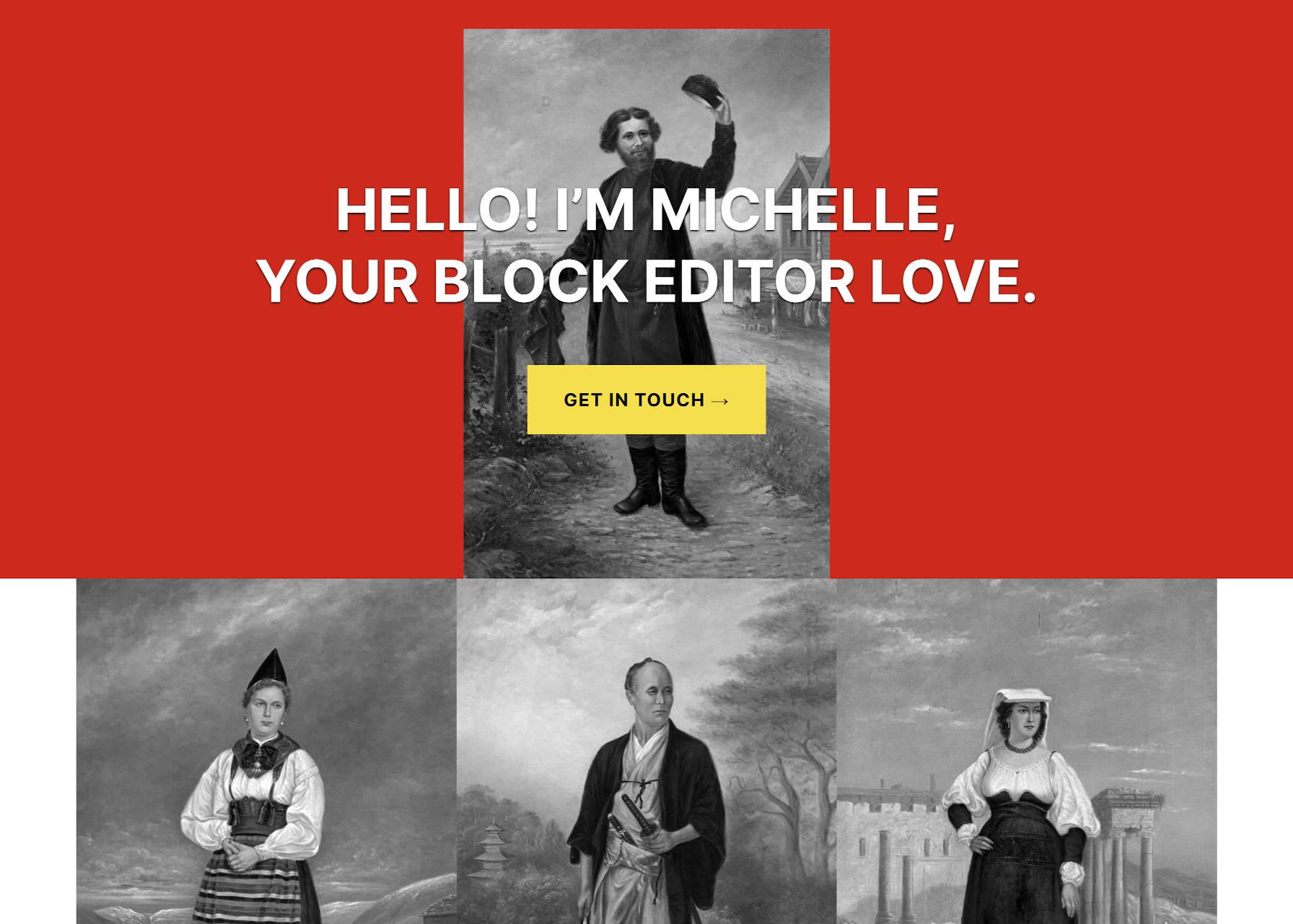 Contenu de démarrage de la page d'accueil pour le thème Michelle avec une galerie d'images.