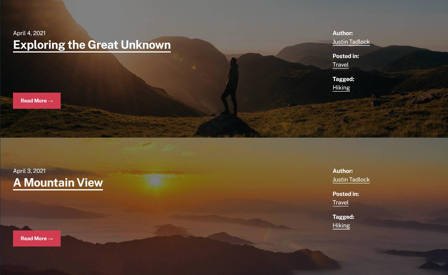 Deux articles de blog empilés les uns sur les autres.  Chacun a une image d'arrière-plan personnalisée qui s'étend sur la page.