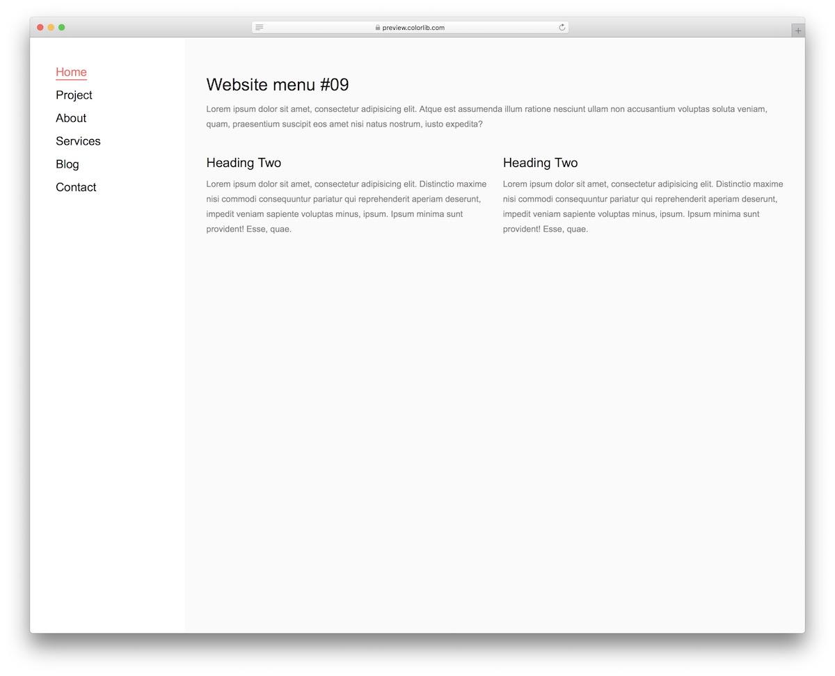 menu du site Web 19