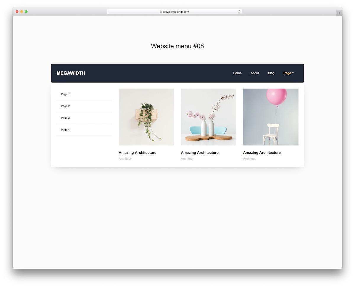 menu du site Web 18