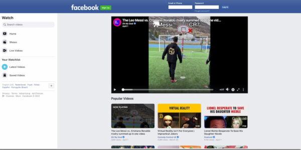 Meilleures plateformes d'hébergement vidéo: Facebook