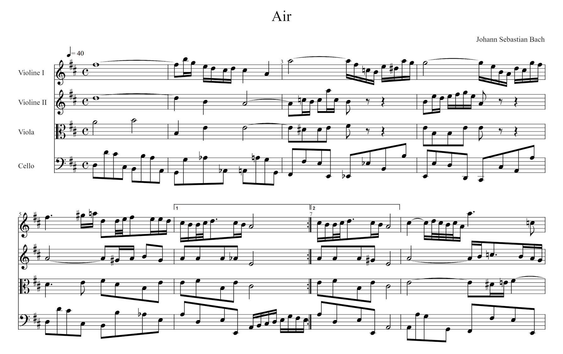Notation musicale de «Air» de JS Bach.