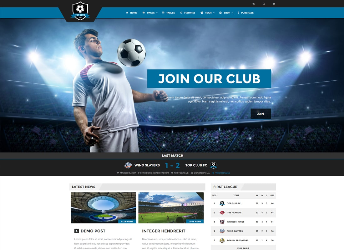 Top Club |  Thème WordPress pour les sports de football et de football