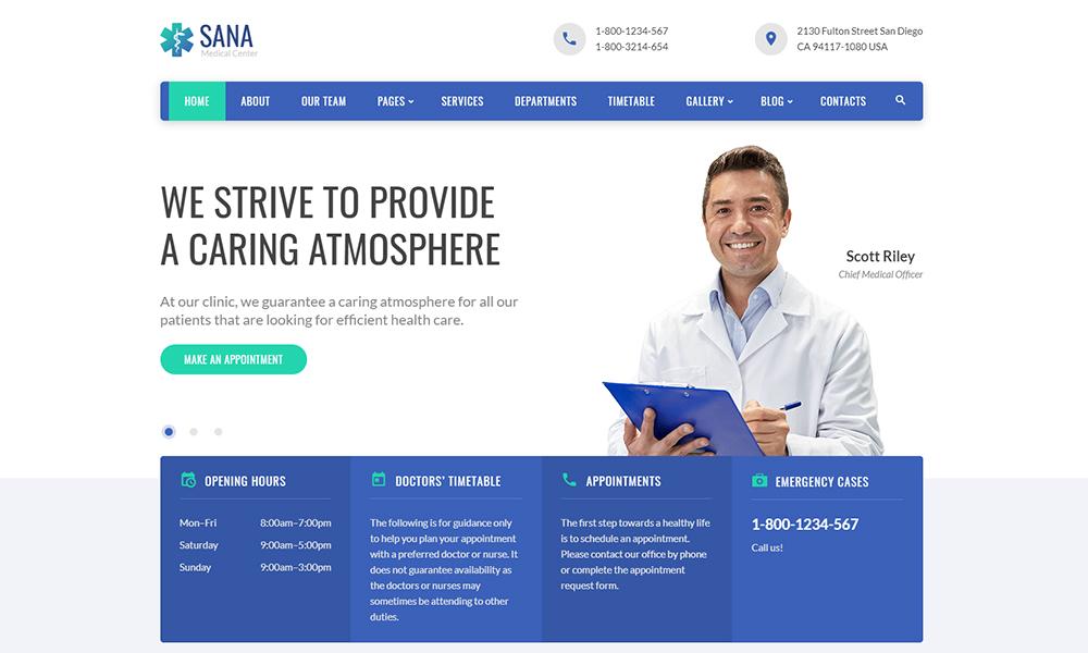 Sana - Modèle de site Web réactif Medical Clean