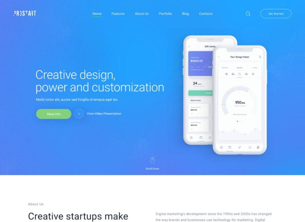 ProStart    Thème WordPress pour démarrage et entreprise