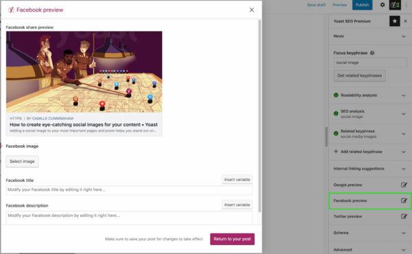 Aperçu de Facebook dans Yoast SEO Premium