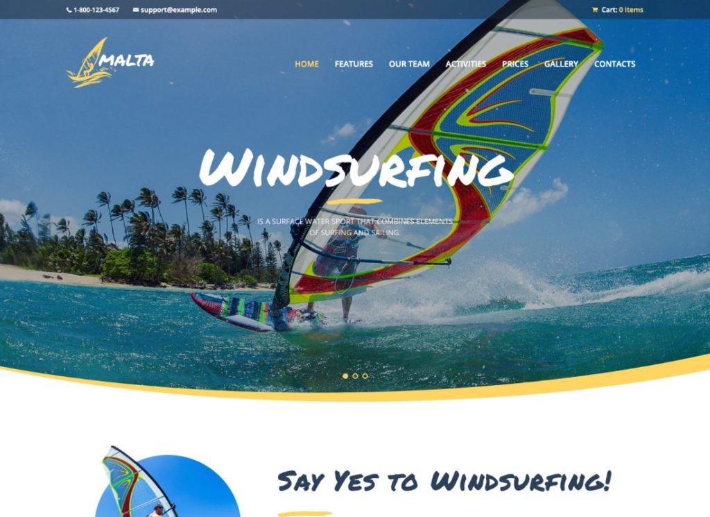 Malte |  Thème WordPress pour le centre de planche à voile, de kitesurf et de wakesurf