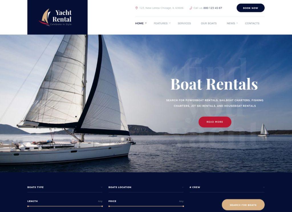 Location de yachts |  Thème WordPress pour le service de location de yachts et de bateaux