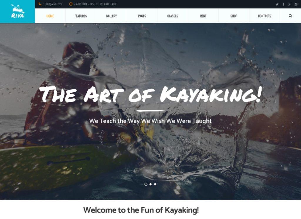 Riva |  Thème WordPress pour kayak / pagaie / sports nautiques et plein air