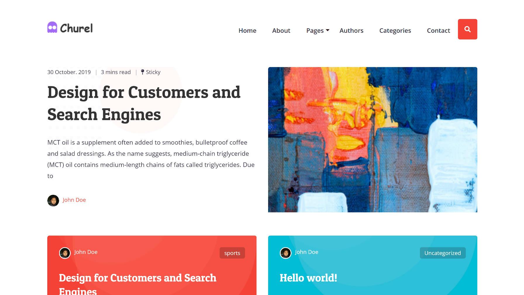 Capture d'écran partielle de la page d'accueil du thème WordPress Churel, avec un post collant et deux cartes dans une grille.