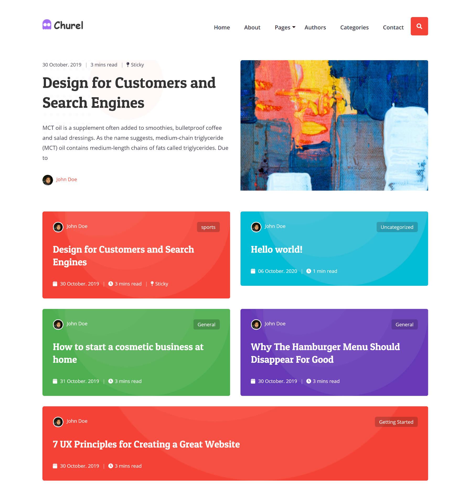 """Capture d'écran de la page d'accueil du thème WordPress Churel, qui se compose d'un """"En vedette"""" (collant) post suivi de posts dans un """"carte"""" conception."""