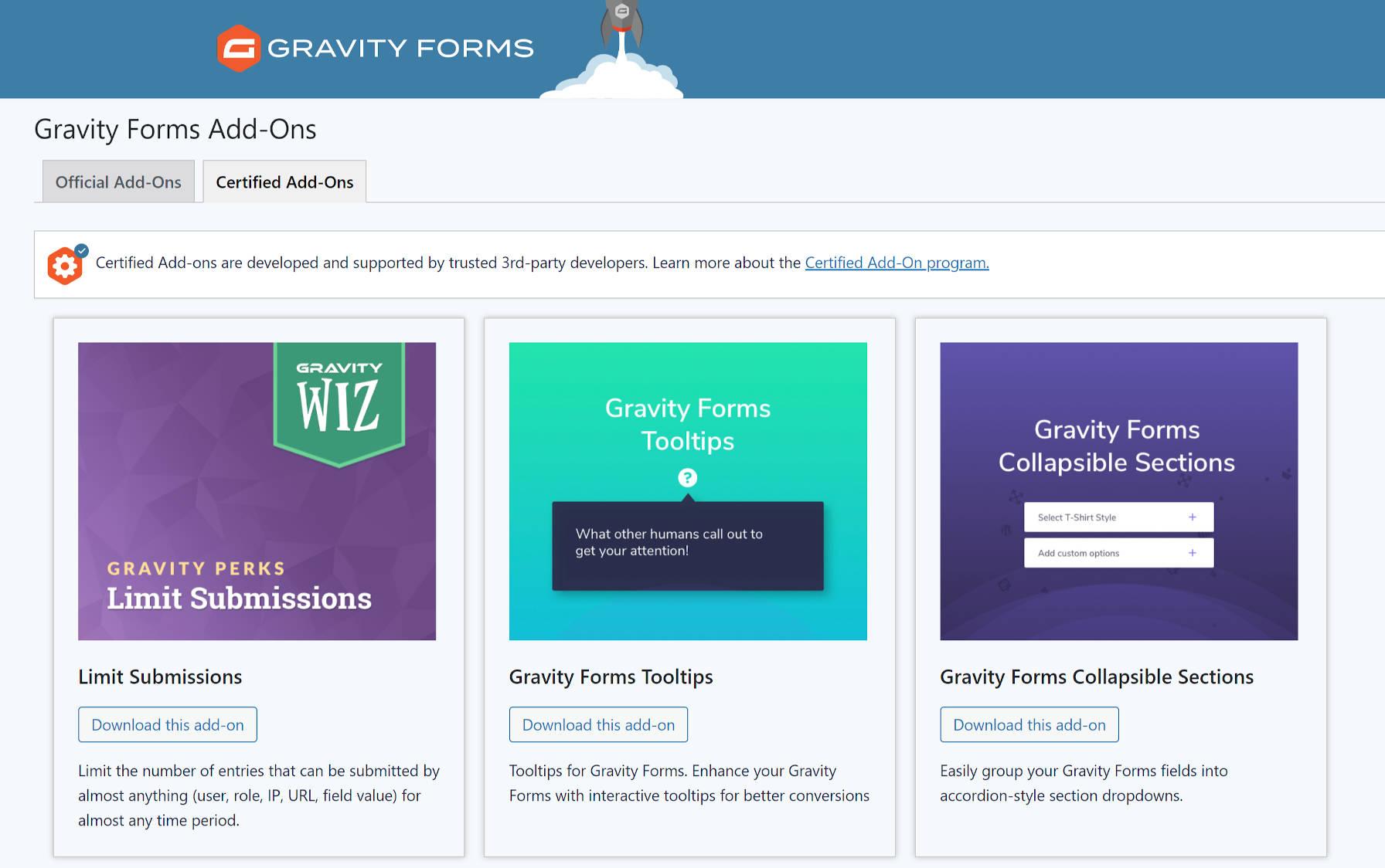 Écran des modules complémentaires certifiés du plugin Gravity Forms.