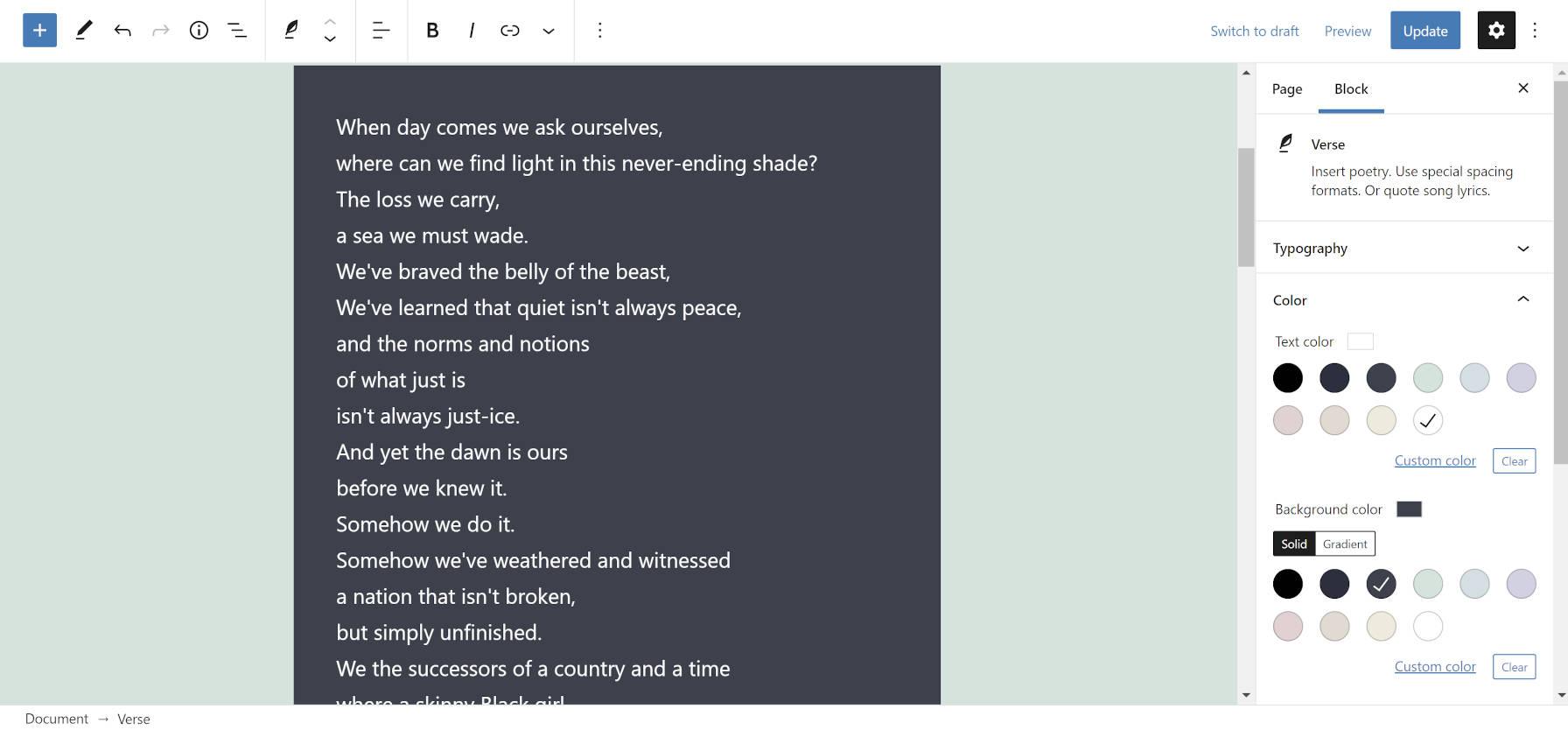Options de couleur pour le bloc Verse dans l'éditeur WordPress.