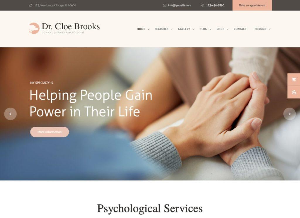 Cloe Brooks |  Thème WordPress pour la psychologie, le conseil et la médecine + RTL
