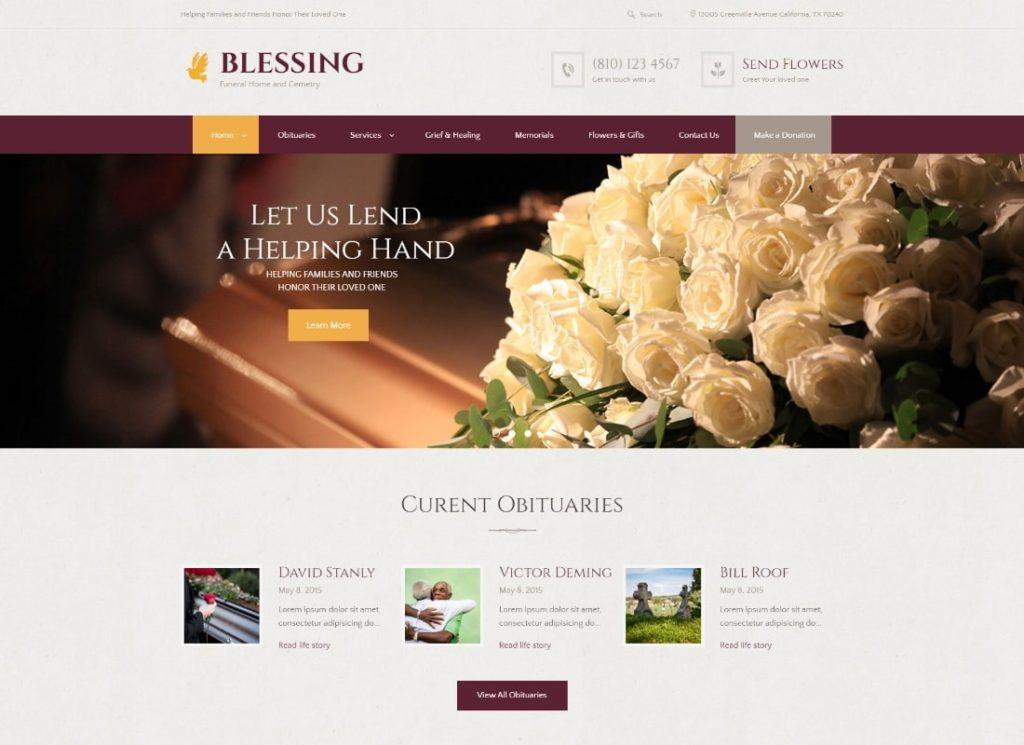 Bénédiction |  Thème WordPress pour les services funéraires et le salon de crémation