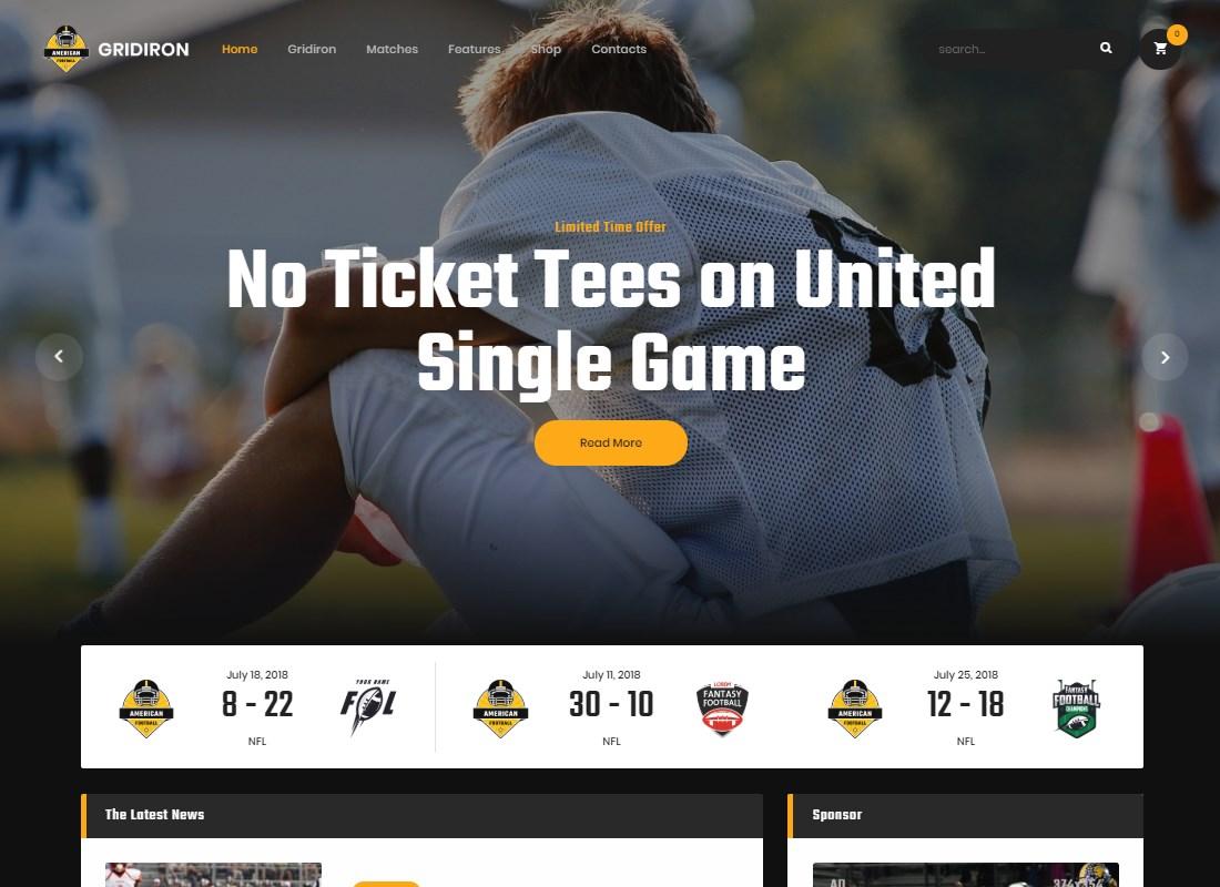 Gridiron |  Thème WordPress de l'équipe de football américain et de la NFL