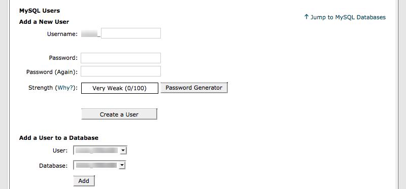 nouvel utilisateur de la base de données